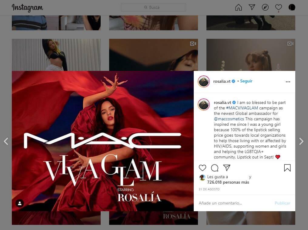 Publicación patrocinada en Instagram