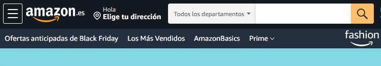ejemplo de campo de búsqueda en la web de Amazon